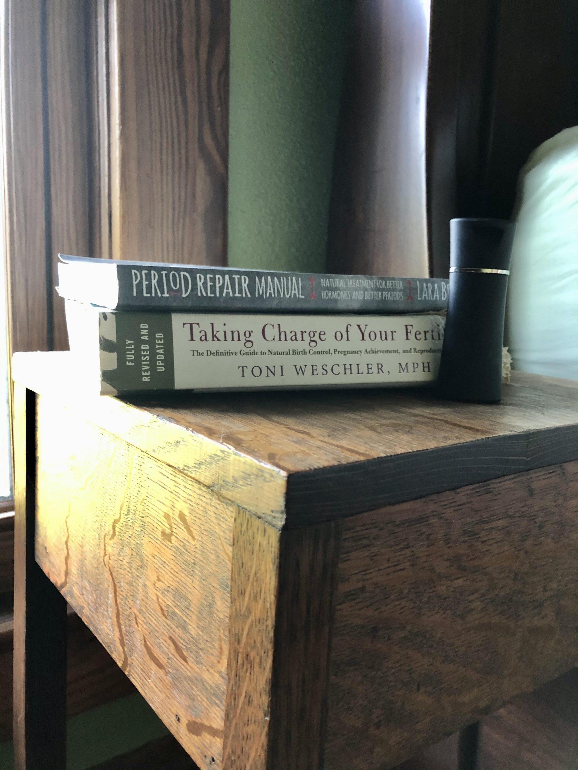 birth control books on a nightstand